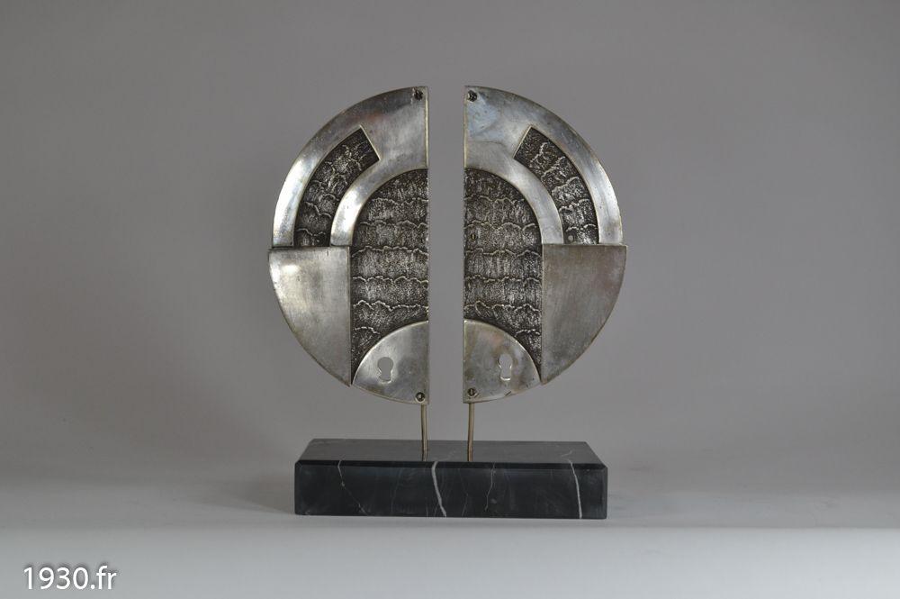 Sculptural 1930 door handles pair art deco for 1930 door locks