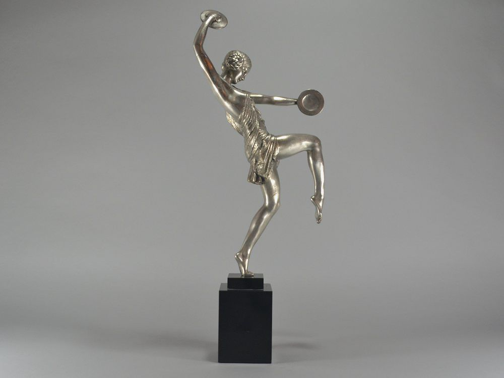 Pierre Le Faguays (?) tall 59cm art deco silver plated bronze cymbal dancer