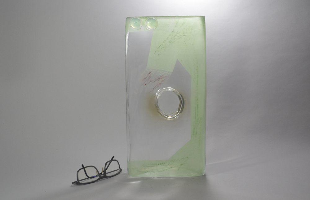 A. RIECKE. Modernist cubist glass vase 1939 #10