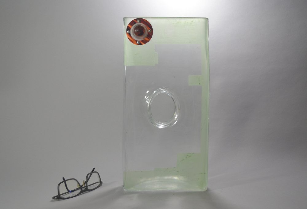 A. RIECKE. Modernist cubist glass vase 1939 #11