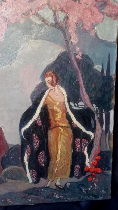 Raymond Feuillatte (1901-1971) Lady with art deco coat. oil on canvas 1921. From a pair