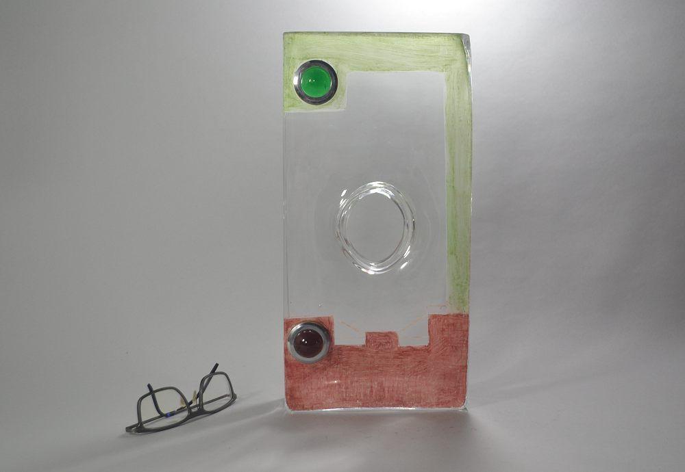 A. RIECKE. Modernist cubist glass vase 1939 #16