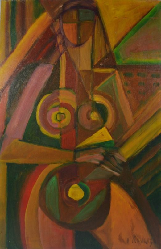 Elisabeth RONGET. Cubist lady. Oil painting on board.