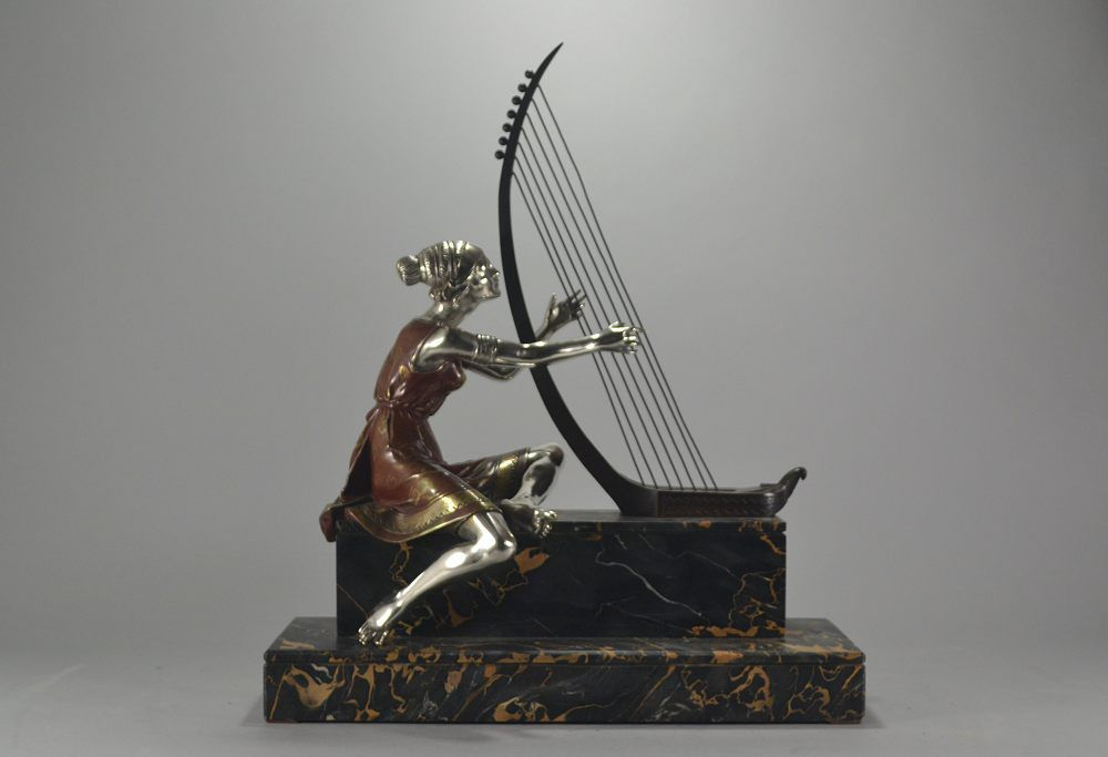 Edouard DROUOT bronze figure woman with a harp. Stunning patina