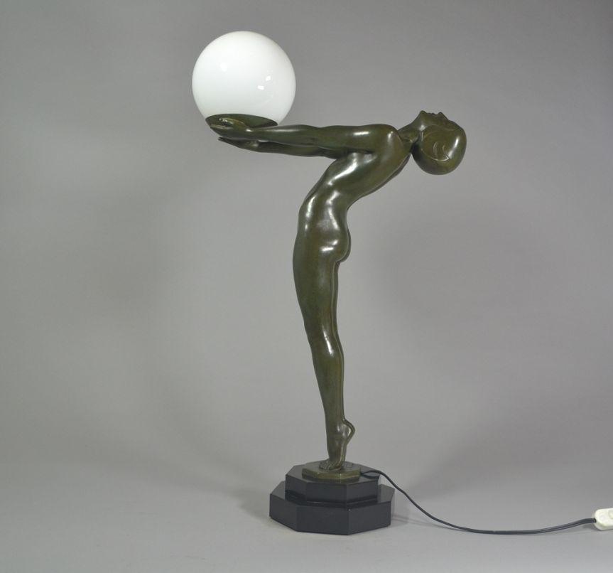 #2 Iconic art deco figural lamp. Max Le Verrier. Lueur.