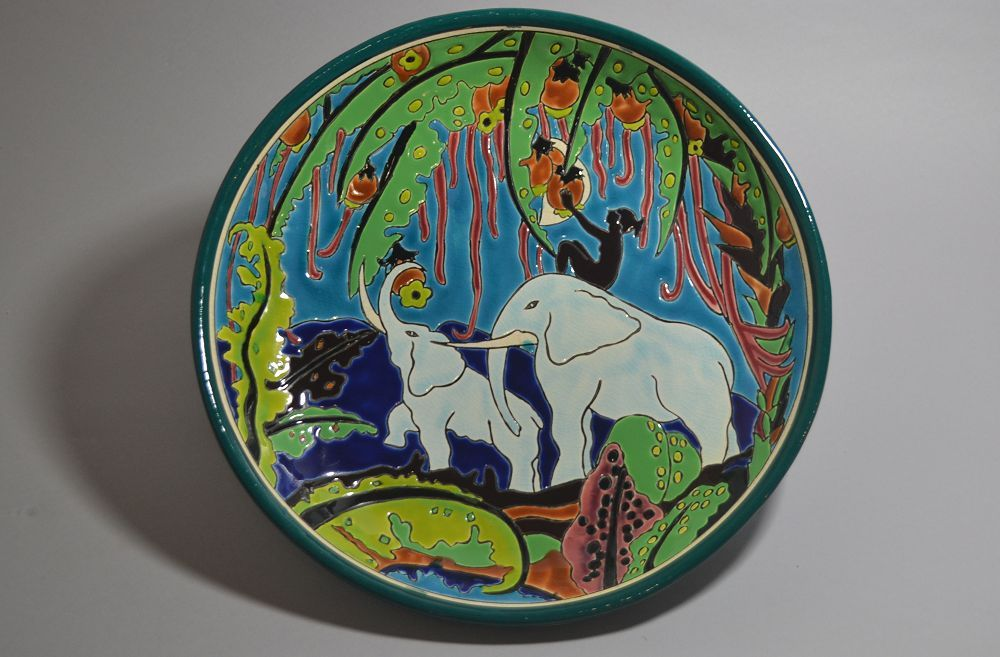 #3 Longwy For PRIMAVERA large ceramic charger. Tropical fantasy