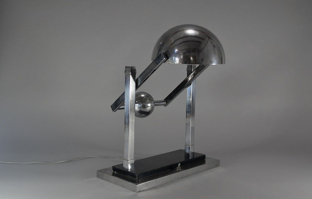 Modernist Jacques Adnet. Satellite desk lamp