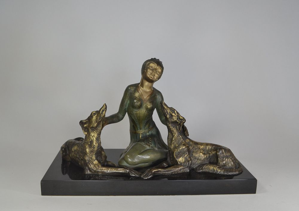 Limousin lady with borzois elegant sculpture