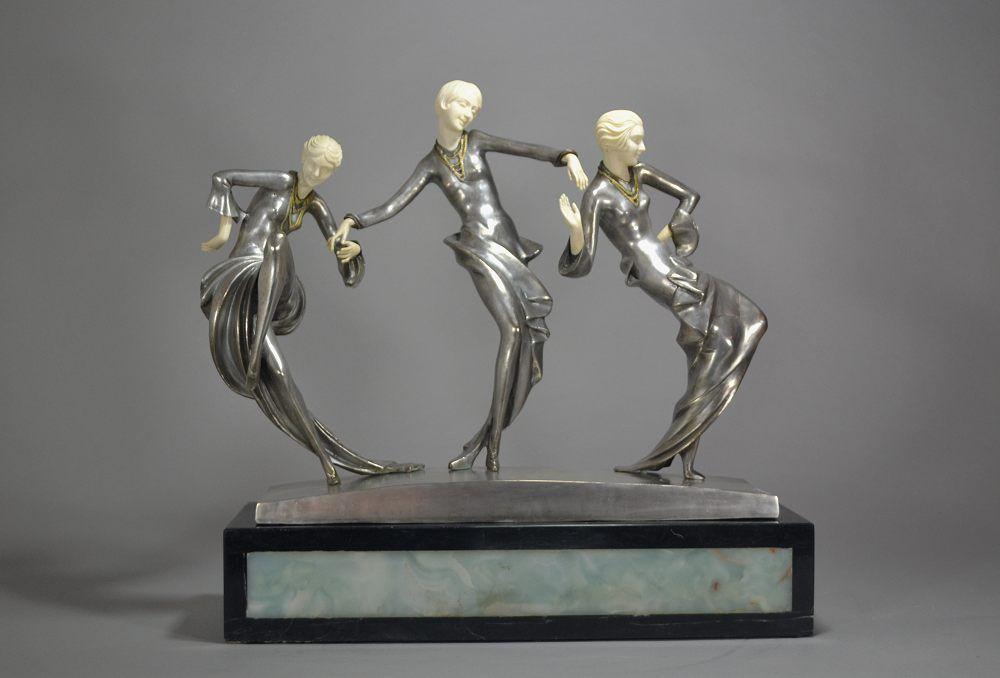 Abel R. Philippe large art deco groupe. Three dancers. Bronze chryselephantine. 1930