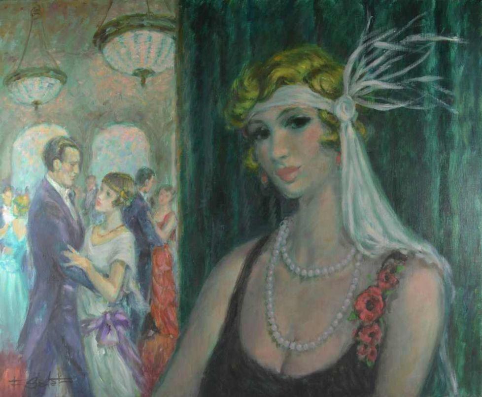 Francois BATET (1921-2015) The Ball. Art deco oil on canvas