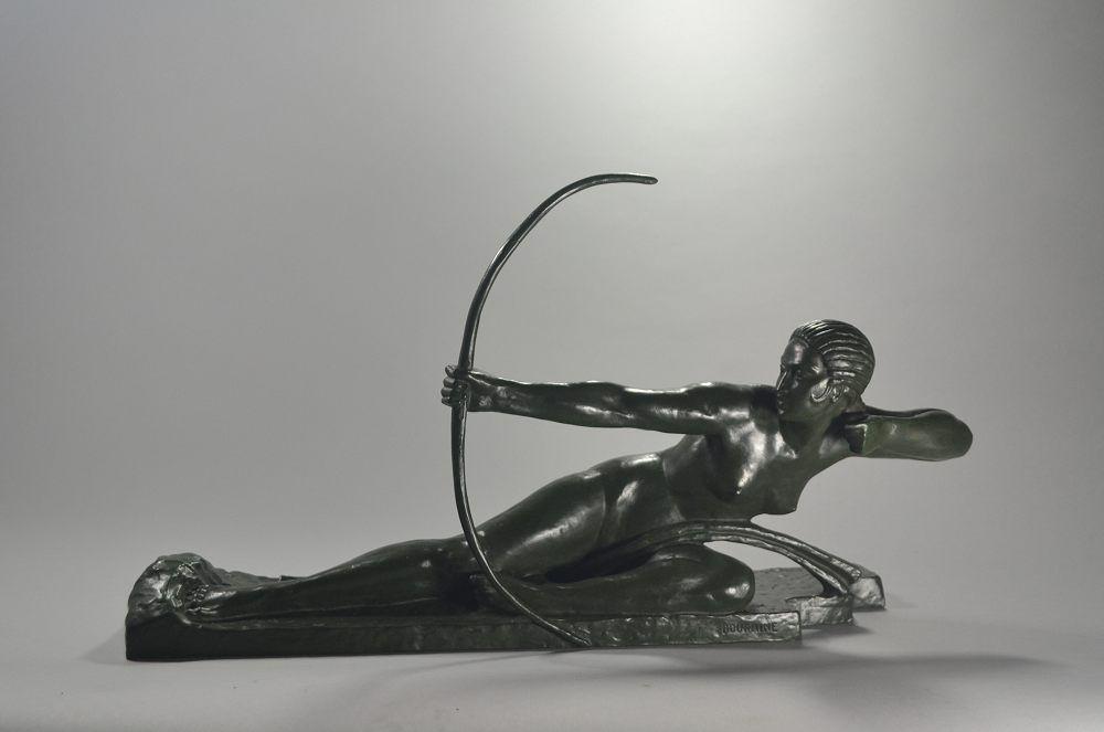 Marcel Bouraine (1886-1948) bronze figure of Penthesilia Queen of the Amazons