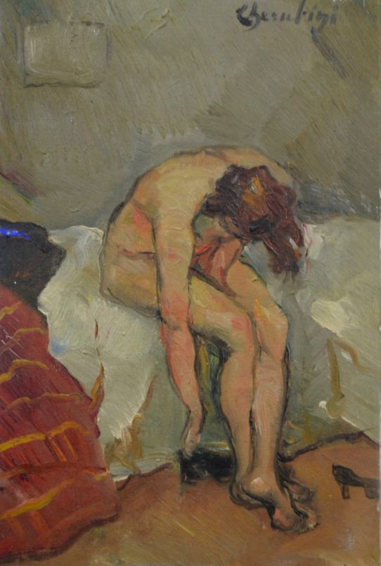 Carlo Cherubini (1897-1978) Oil on canvas. Nude lady