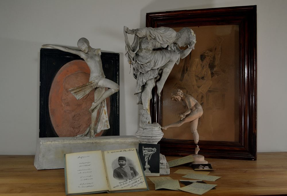 Claire Colinet.  Unique set of original sculptures and documents