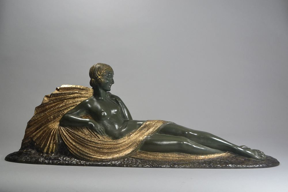 Dh. Chiparus reclining lady bronze figure