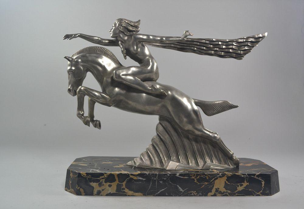 Emile Dautrive impressive art deco bronze sculpture