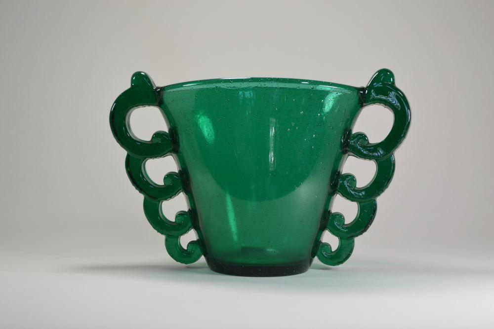 Davesn for Daum art deco vase. Uncommon green color.