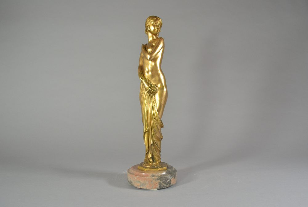 Joe Descomps tall and rare art deco bronze figure