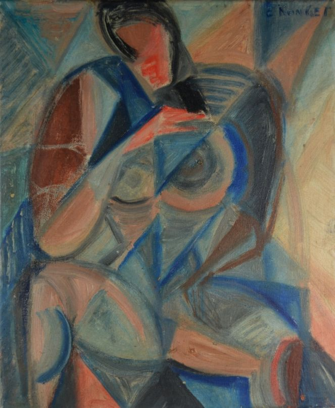 ELISABETH RONGET. Cubist oil on canvas.