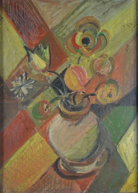Elisabeth Ronget. Cubist bunch of flowers. Oil on board.