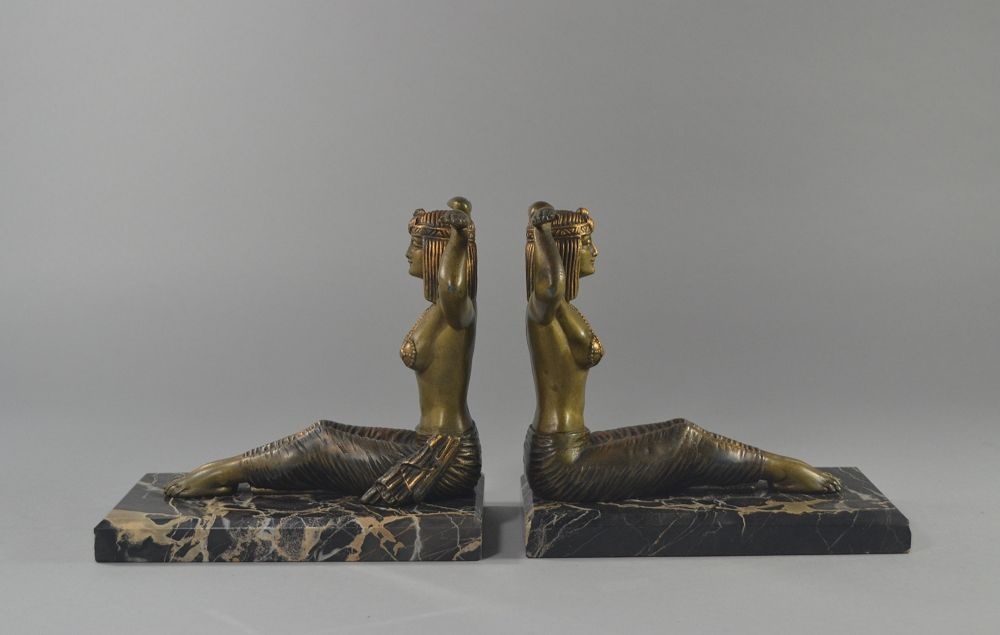 Art deco bookends with egyptian dancers