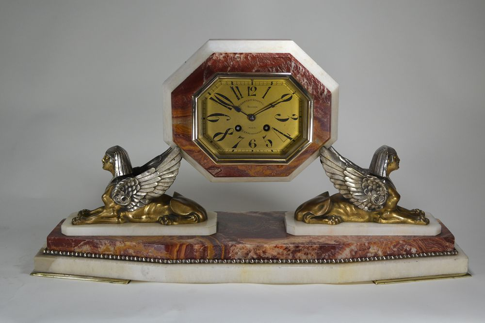 Bronze Art deco Egyptian Revival clock