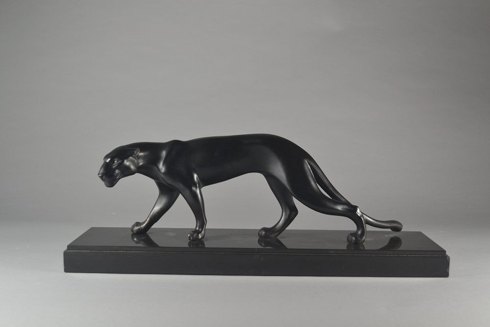 Art deco panther on marble base M. FONT