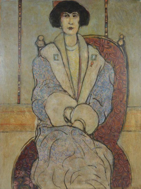 Emilie Flöge Portrait. Signed German school painting. Klimt era.