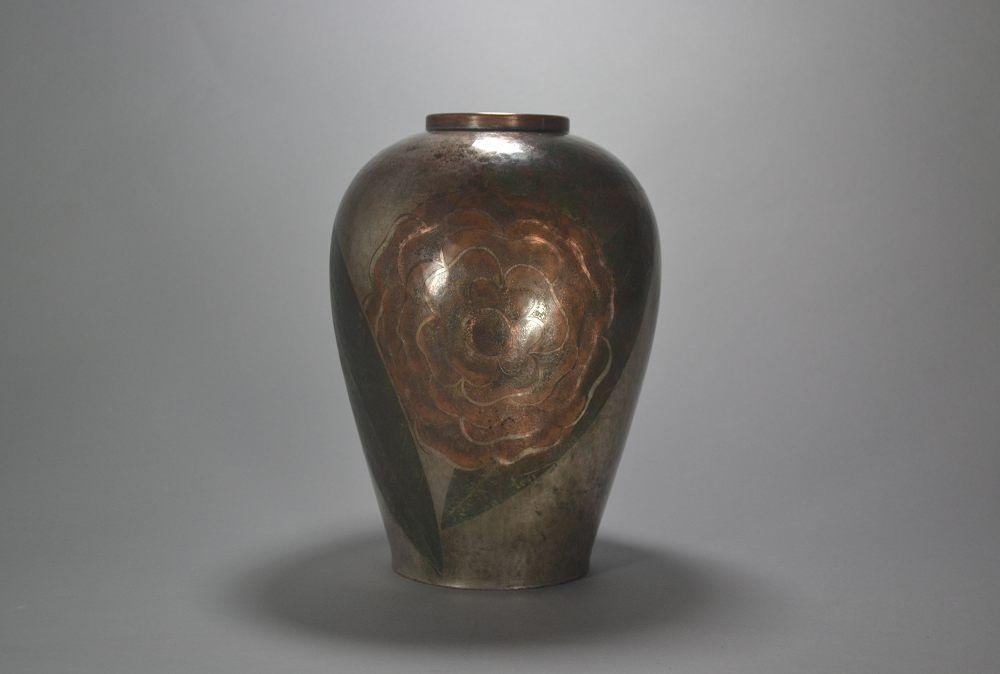 Tall art deco dinanderie vase. Ghanu GANTCHEFF. Russian.