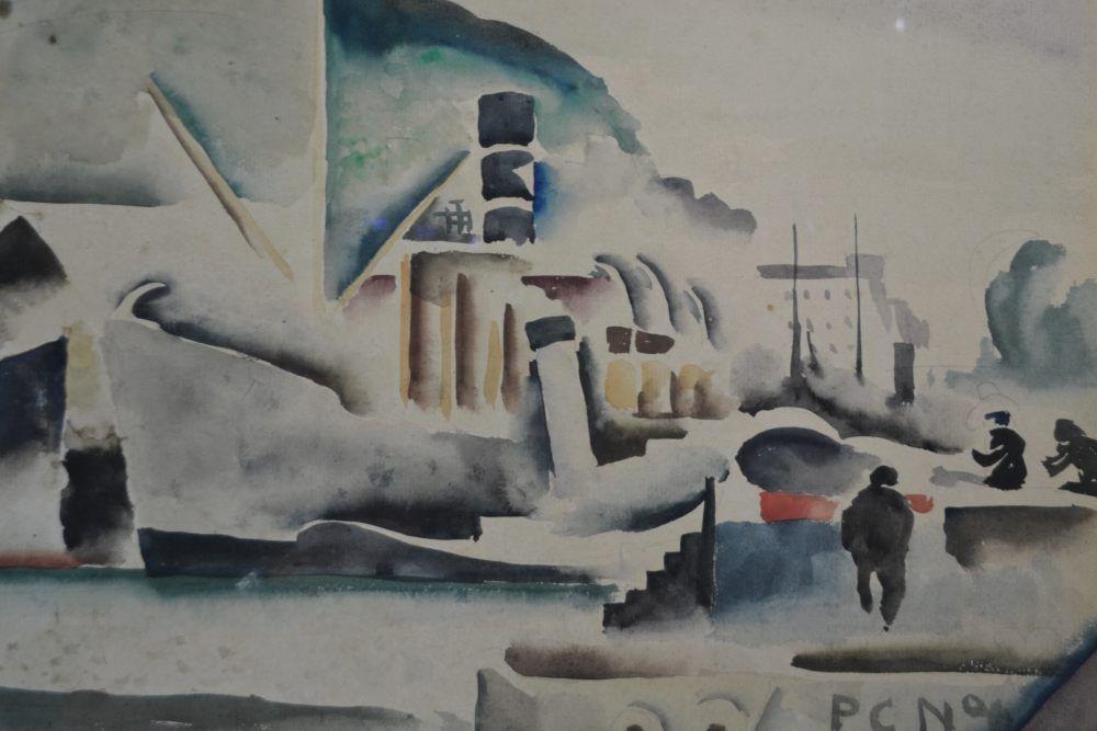 Paul Elie GERNEZ . Cubist View of a port. 1921.