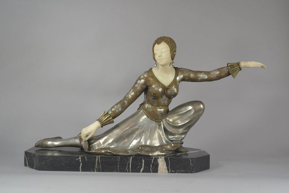 Large Affortunato Gori art deco bronze and alabaster dancer figure