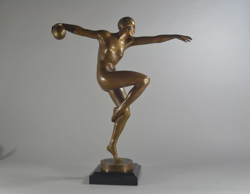 Guiraud Riviere rall 60cm bronze figure. Ball dancer. Etling Paris
