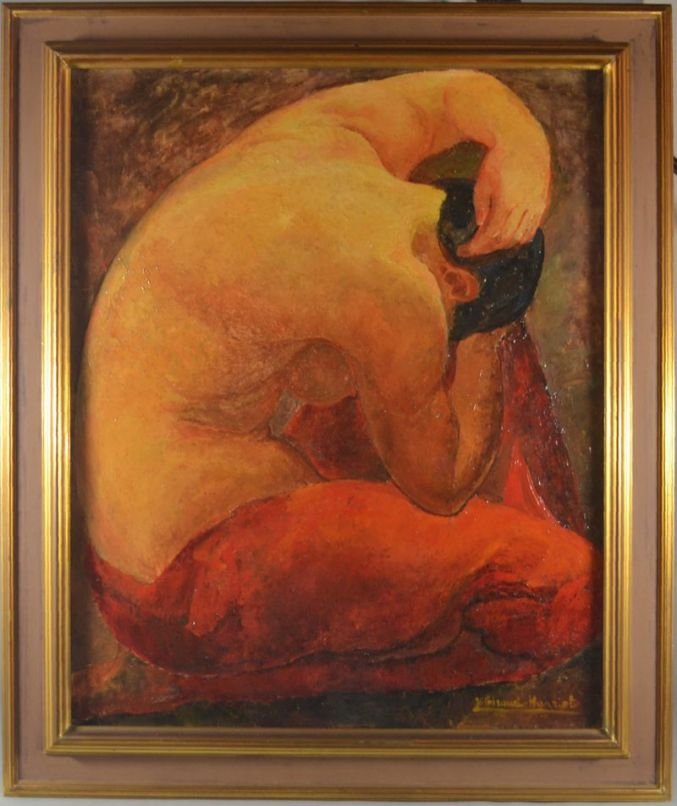 Y. Giraud-Hanriot back nude lady oil on canvas