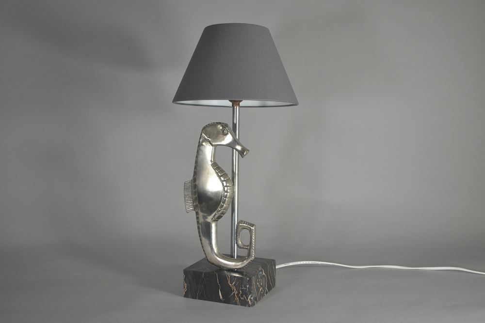 Large silver plated bronze art deco sea horse figural lamp