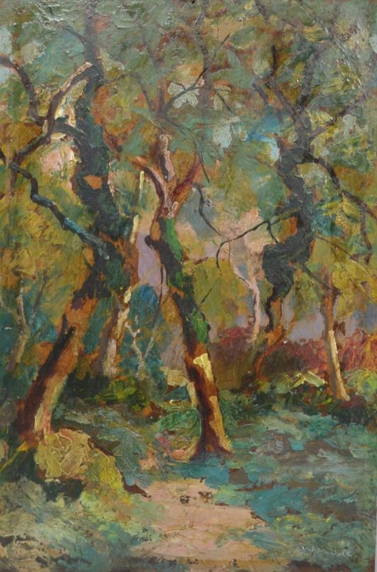 Vasyl KHMELUK (1903-1986) oil on cardboard. Undergrowth.