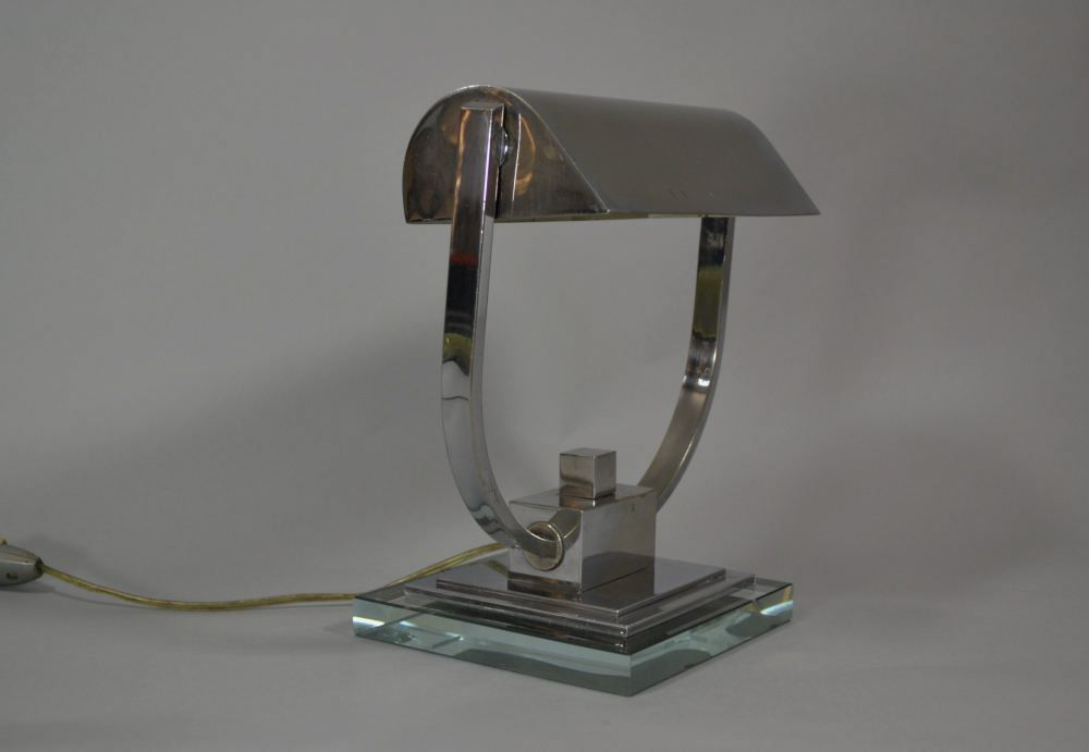 Modernist art deco nickel plated lamp Adnet era