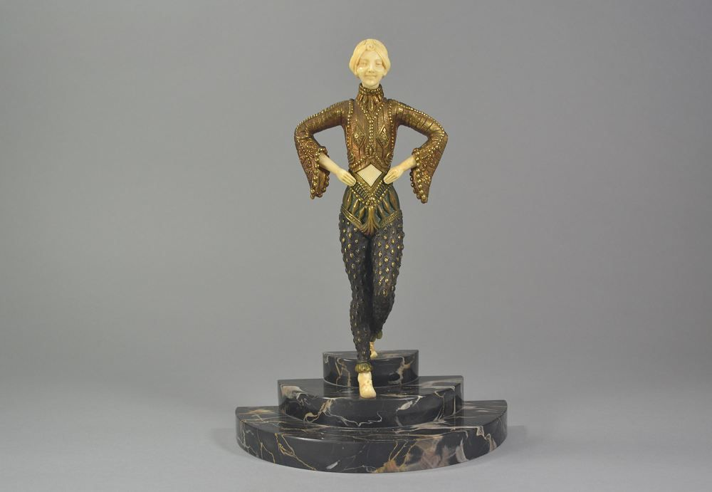 Samuel Lipchytz russian step dancer bronze and Ivory