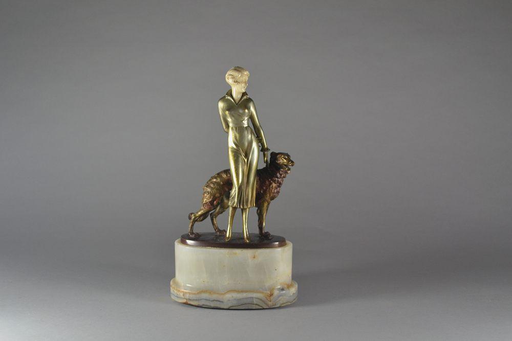 Josef LORENZL bronze lady with borzoi