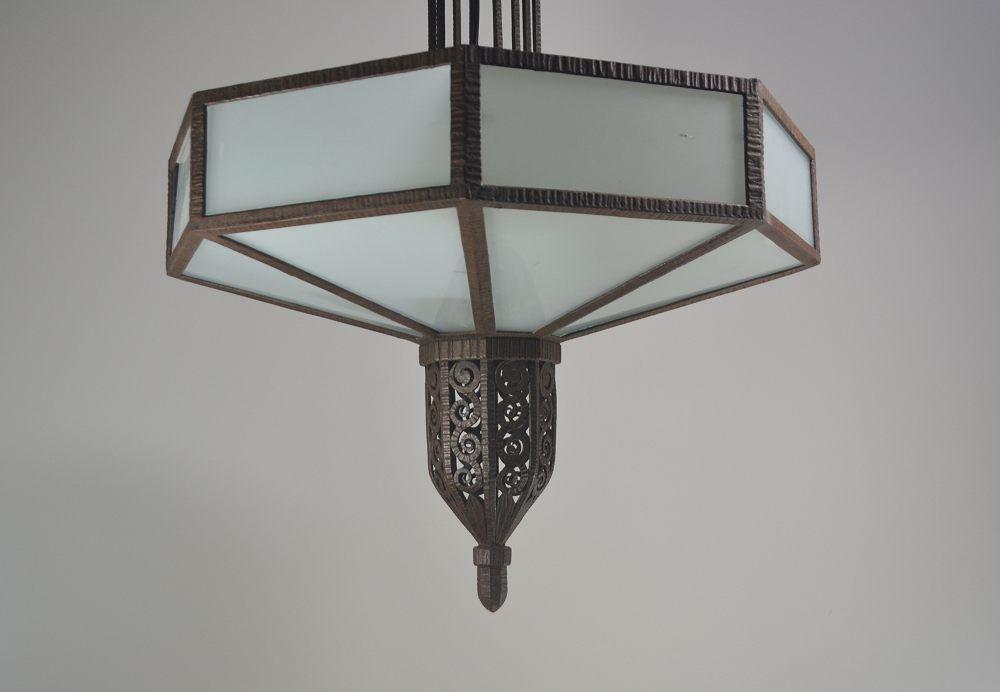 Art deco wrought iron chandelier hanging lamp Paul Kiss ?