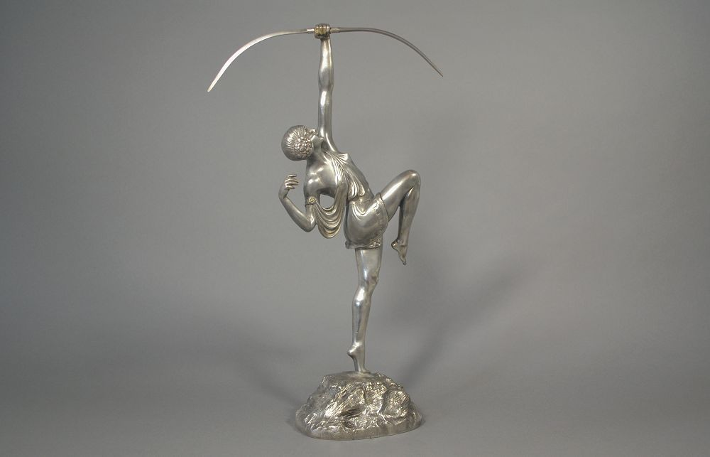 Signed silver plated bronze figure of Diana. Pierre Le Faguays. 1930