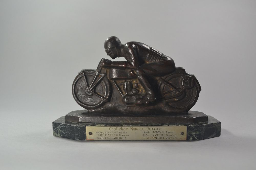 Art deco motorcycle race trophy. Signed bronze