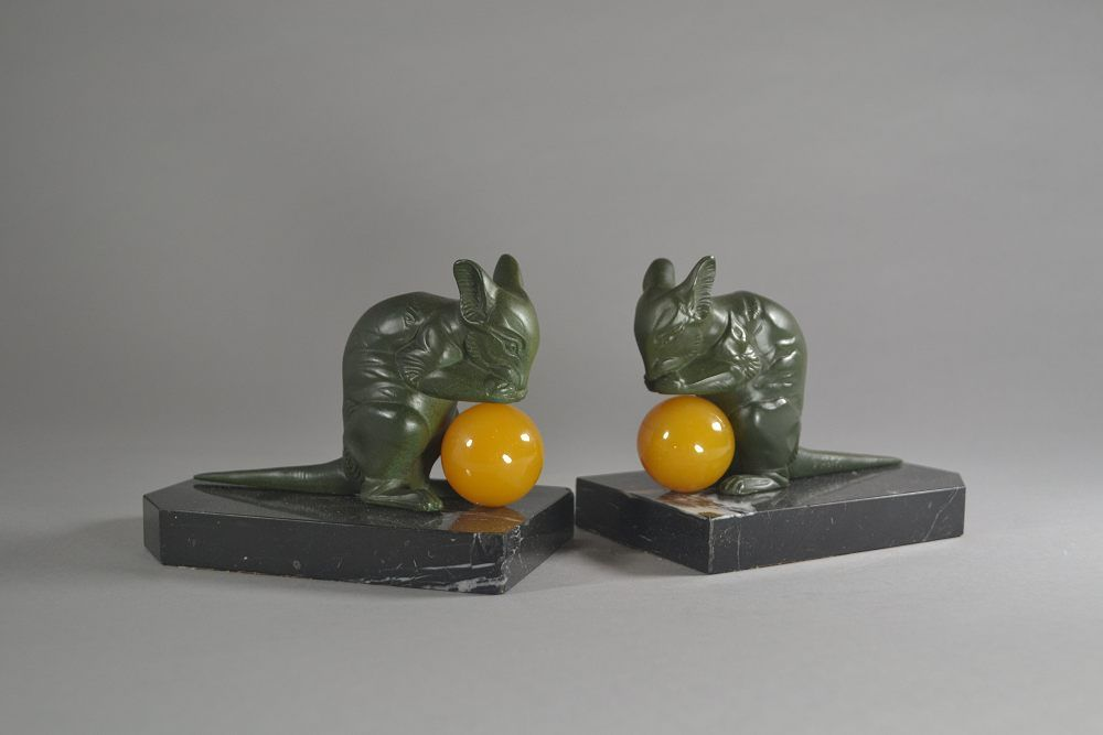 H. Moreau art deco bookends with mouses