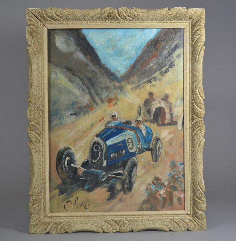 Bugatti race car framed oil painting signed