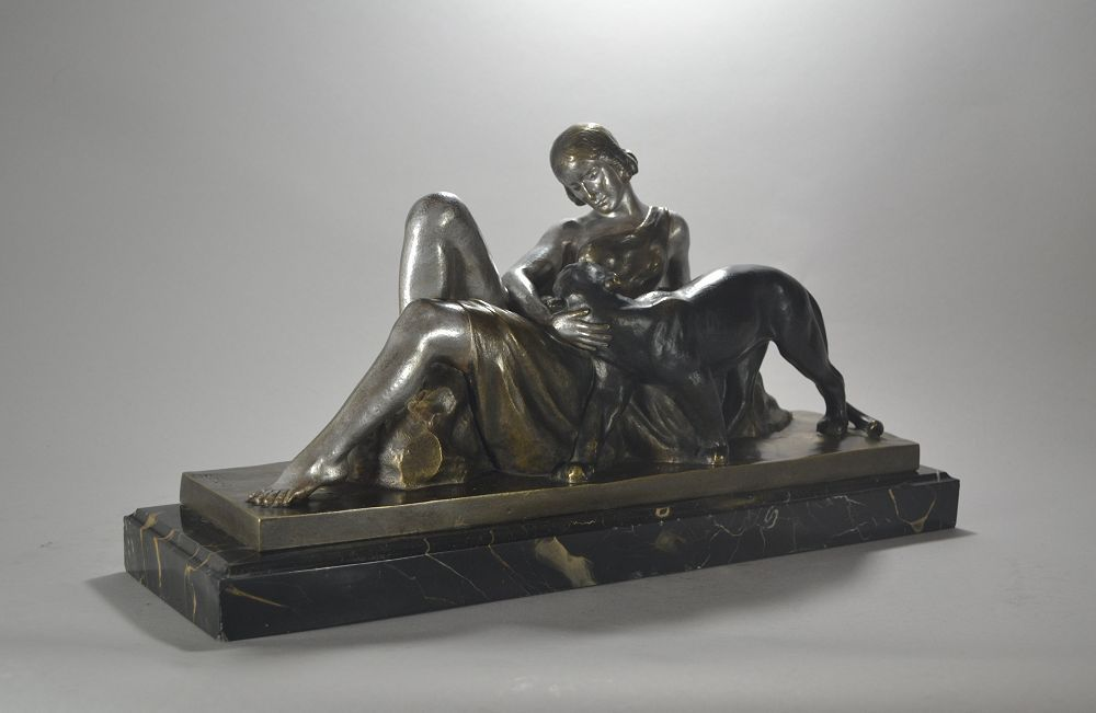 Alexandre Ouline. Lady with panther bronze sculpture
