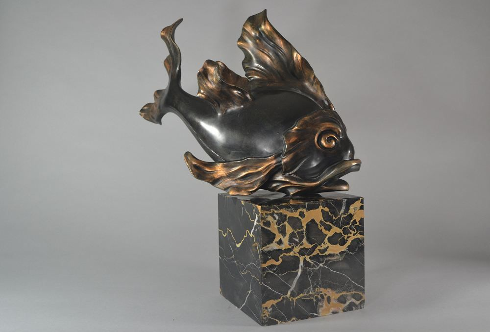 Giant art deco metal fish on marble base
