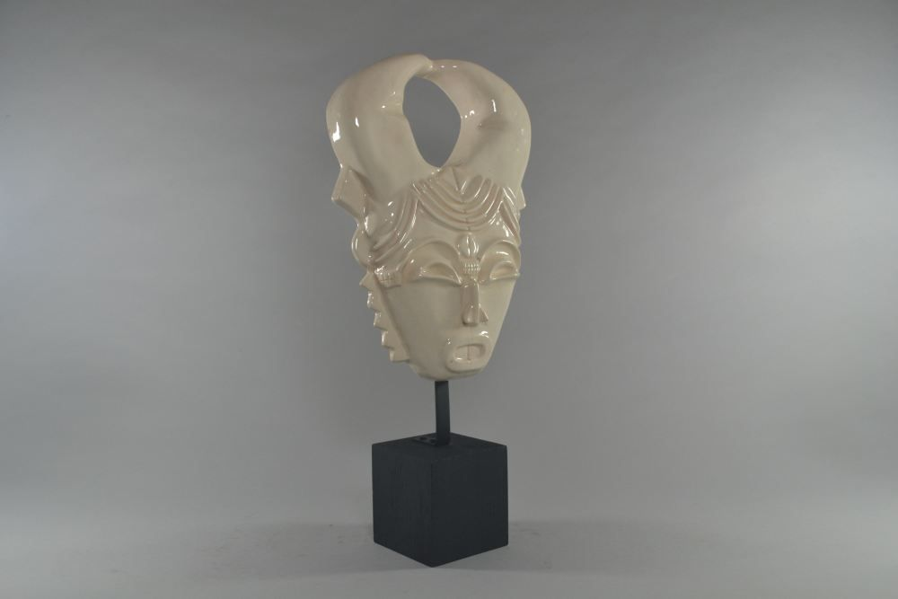 Rene BUTHAUD africanist mask crackle ceramic