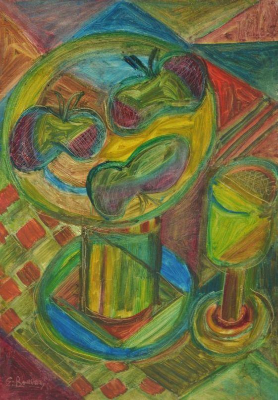 Elisabeth Ronget. Cubist still life.