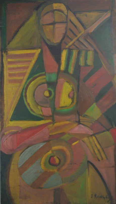 E. Ronget (1893-1972). Cubist lady. Oil on board.