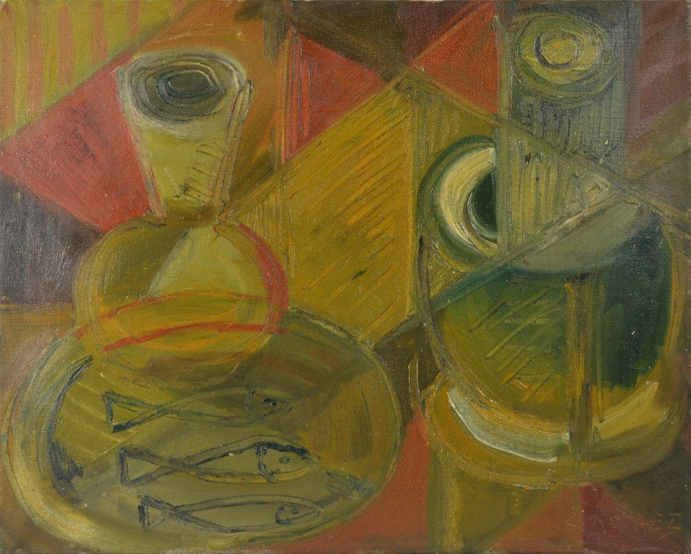 Cubist still life. Elisabeth Ronget. Oil on cavas.