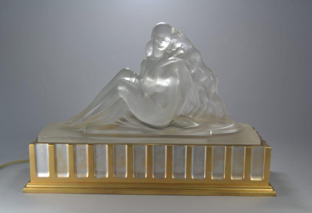 Marius SABINO, rare glass art deco lamp