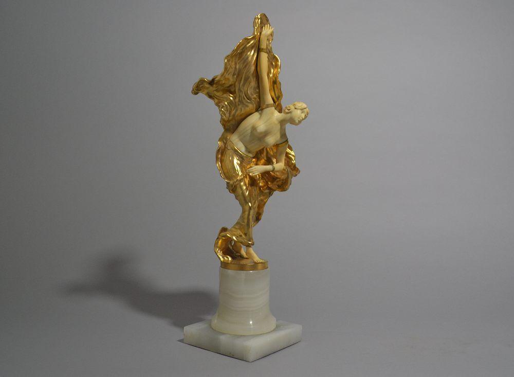 Tall chryselephantine figure of a dancer. Signed. 39cm